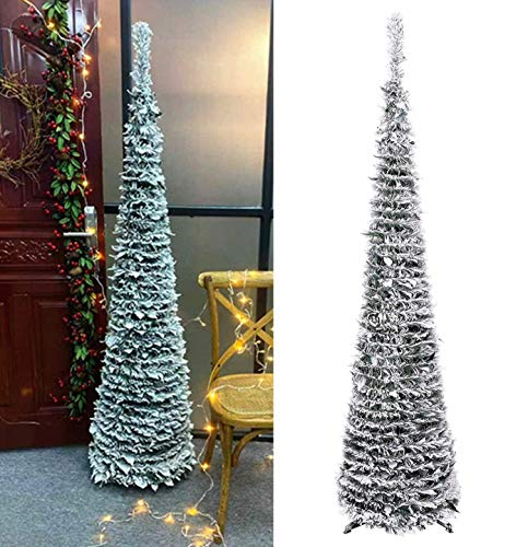 DOYOLLA Premium Artificial Snow Flocked Christmas Tree 6-Feet, Collapsible Pop-up Xmas Pine Tree for Home Holiday Christmas Decorations (Flocked Xmas Trees)