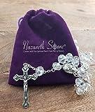 Catholic Rosary White Clear Crystal Beads