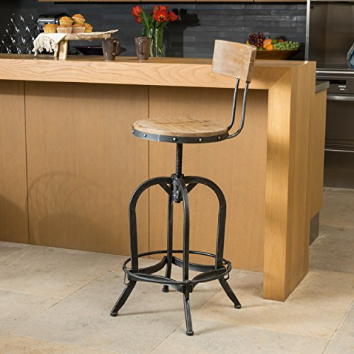 Bar Country Stool Swivel (Ximen Naturally Antique Fir Wood Barstool w/ Backrest by Christopher Knight Home)