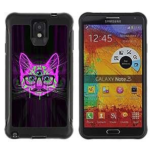 Suave TPU GEL Carcasa Funda Silicona Blando Estuche Caso de protección (para) Samsung Note 3 / CECELL Phone case / / Handlebar Smart Glasses Neon Cat Purple /