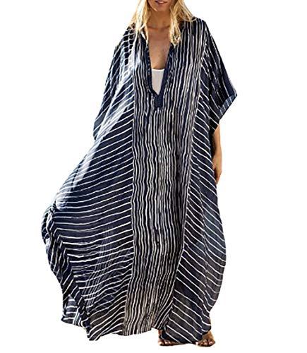 (Bestyyou Women's Semi-Sheer Chiffon Long Caftan Lounger Printed Kaftan Dress Bathing Suit Bikini Swimsuit Cover Up Swimwear (Striped A))