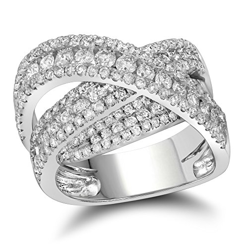 10kt White Gold Womens Round Diamond Crossover Fashion Band Ring 2.00 Cttw