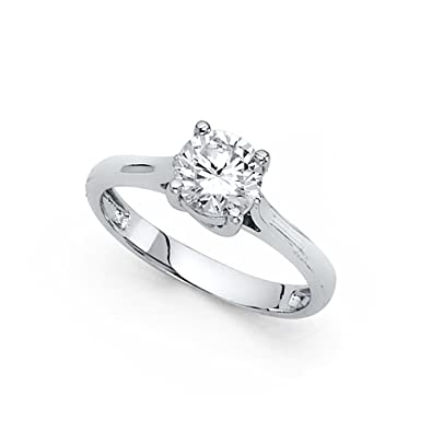14k Yellow Or White Gold Cz Single Stone Engagement Ring Anniversary