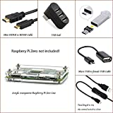 6 in 1 Kit for Raspberry Pi Zero, Transparent Arcylic Case Box + Micro USB to female USB + ON/Off Control Cable + 3 port USB 2.0 Hub Splitter + HDMI to Mini HDMI Cable, Raspberry Pi Zero NOT include