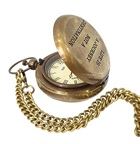 Collectibles Buy Vintage Brass Push Button Pocket Watch Lid Navy Antique Art Quote Watches Unisex Bronze