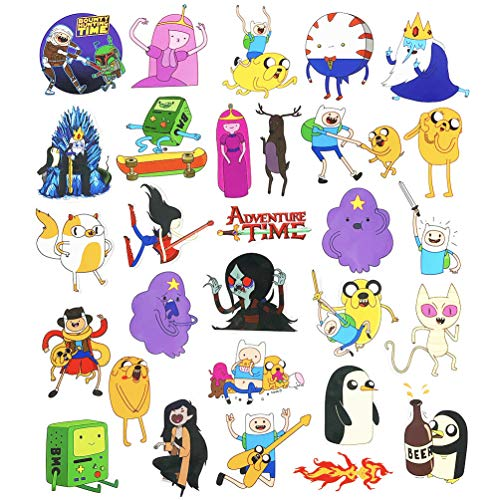 Adventure Time Stickers Pack for Laptop Vinyl Kids Cartoon Anime Skateboard Water Bottles Computer Pad Luggage 29pcs (Decal Adventure Time Laptop)