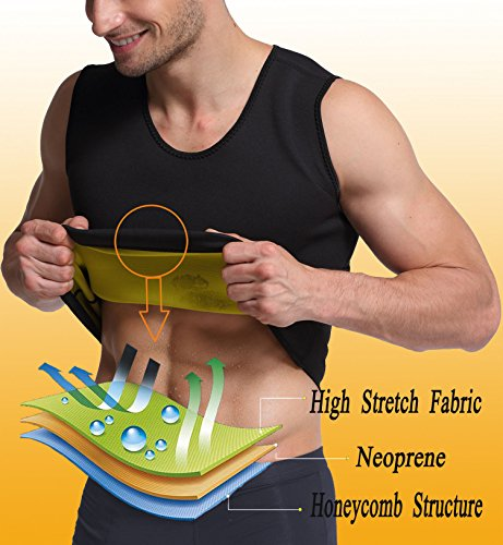 Mens Body Shapers Vest Slimming Sweat Tummy Fat Burner Tank Top for Weight Loss by Glamours