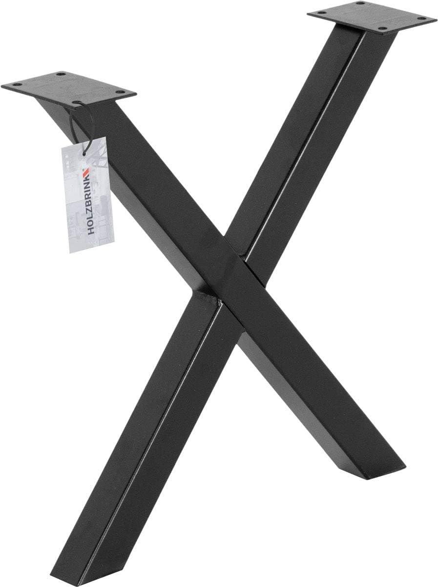 Noir Fonc/é Dimensions 70x72 cm HOLZBRINK 1x Pied de Table X en Profil/és dAcier 80x80 mm HLT-03-J-EE-9005