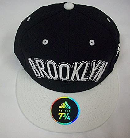2096d163c435e Amazon.com : Brooklyn Nets Flat Bill Fitted Hat by Adidas size 7 3/4 ...