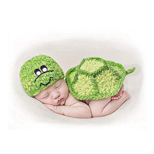 Fashion Newborn Boy Girl Baby Costume Outfits Photography Props Outfits Green Tortoise Set]()