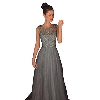Women Formal Wedding Bridesmaid Long Evening Party Ball Prom Gown Dress (Gray, L)