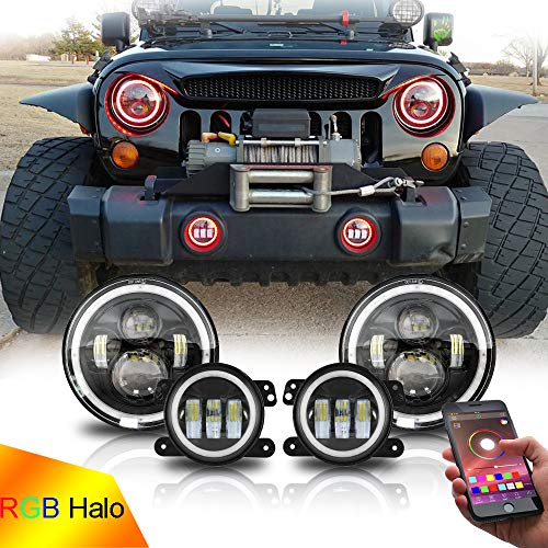 Beatto 7inch LED Headlights + 4inch LED Fog Light Combo with RGB Halos for 1997-2017 Jeep Wrangler JK CJ Upgrade Modification (Best Jeep Headlight Upgrade)