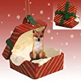 Red Fox Red Gift Box Christmas Ornament by Conversation Concepts