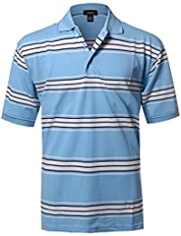 Men's Basic Casual Short Sleeves Stripe 3 Button Placket Polo (S-5XL)