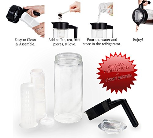 SEIKEI Original Cold Brew Coffee Maker for Iced Coffee, Tea, and Fruit Infused Water, Glass Pitcher with Coffee Filter and Extra Fruit Infuser Filters, 44 Ounce Capacity by Seikei Designs (Image #6)