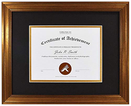 Golden State Art 11x14 Frame for 7x9 Diploma/Certificate, Dark Gold Color. Includes Black Over Gold Double Mat and Real Glass