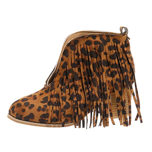 LIM&Shop ⭐ Flats-Shoes Womens Western Fringe Booties Cowboy Low Heel Fall Ankle Short Boots Shoes Tassels Chukka Boot Brown