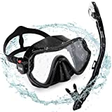 Aegend Black Dry Top Snorkel Set, Adult Wide View Diving Mask with Anti Fog Tempered Glass Lenses for Safety Adjustable Buckles Snorkeling Mask with Gear Bag
