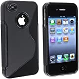 niceEshop Black S Line TPU Case Cover for iPhone 4 4S