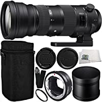Sigma 150-600mm f/5-6.3 DG OS HSM Sports Lens for Canon EF & MC-11 Mount Converter/Lens Adapter (Canon EF-Mount to Sony E) 9PC Bundle Includes Manufacturer Accessories + Heavy Duty Monopod + MORE