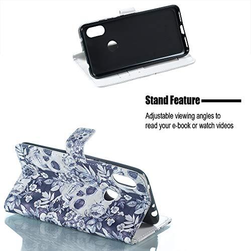 6 Redmi Case Silicone Pu Flip Wallet Custodia Pelle Leather Slot Cover Portafoglio Copertura Fiore Schede 3d Note Per Cranio Protector Pro Bumper In Kickstand E74ndqw