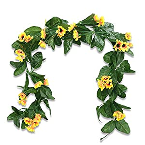 Nadalan Artificial Flowers Garlands 2 Pack 6.2ft Sunflower Fake Flowers Vine for Home Wedding Decoration (Sunflower) 13