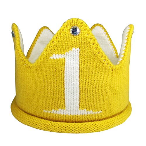 Lujuny Knit 1st Birthday Hat - Soft Baby Crown Headband Cap for Party Costume Photoshoot (Yellow)]()