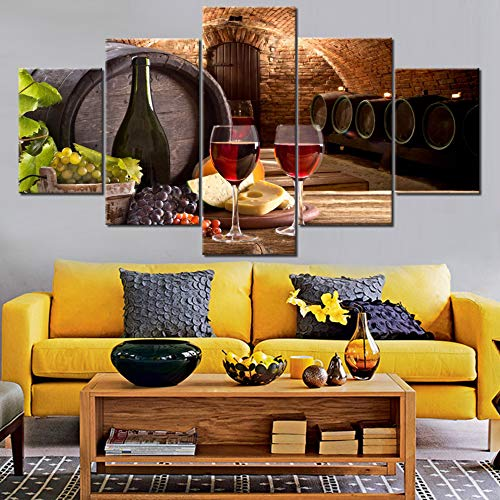 Kitchen Wall Art Red Wine Cellar Pictures Wooden Barrel and Wineglasses Paintings for Living Room 5 Panel Canvas Artwork House Modern Decor Giclee Framed Ready to Hang Posters and Prints(60