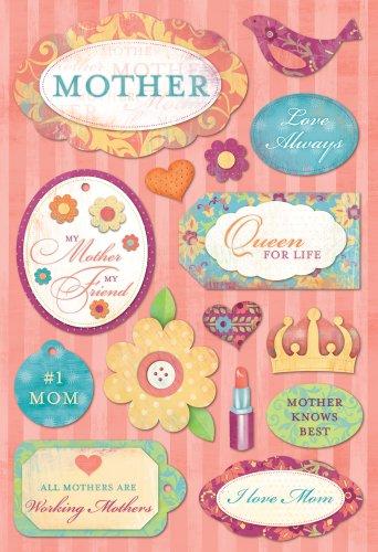 KAREN FOSTER 10884 Design Acid and Lignin Free Scrapbooking Sticker Sheet, No.1 Mother