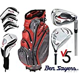 Ben Sayers LEFT HAND Tour Steel V5 Men's Full Golf Set 2017 Fast-Fold Cart Bag Golf Clubs Set New