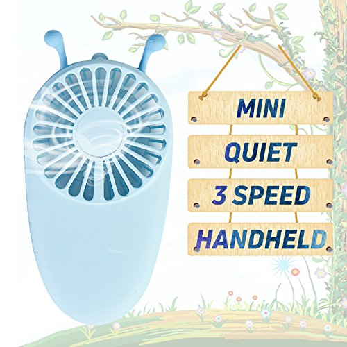 YAKOO Personal Handheld Fan, 3 Speed Electric Portable Pocket Fan USB Rechargeable Battery Cooling Fan Mini Size for Kids Girls Woman Room Outdoor Office Household Traveling- Little Bee Design by YAKOO (Image #7)