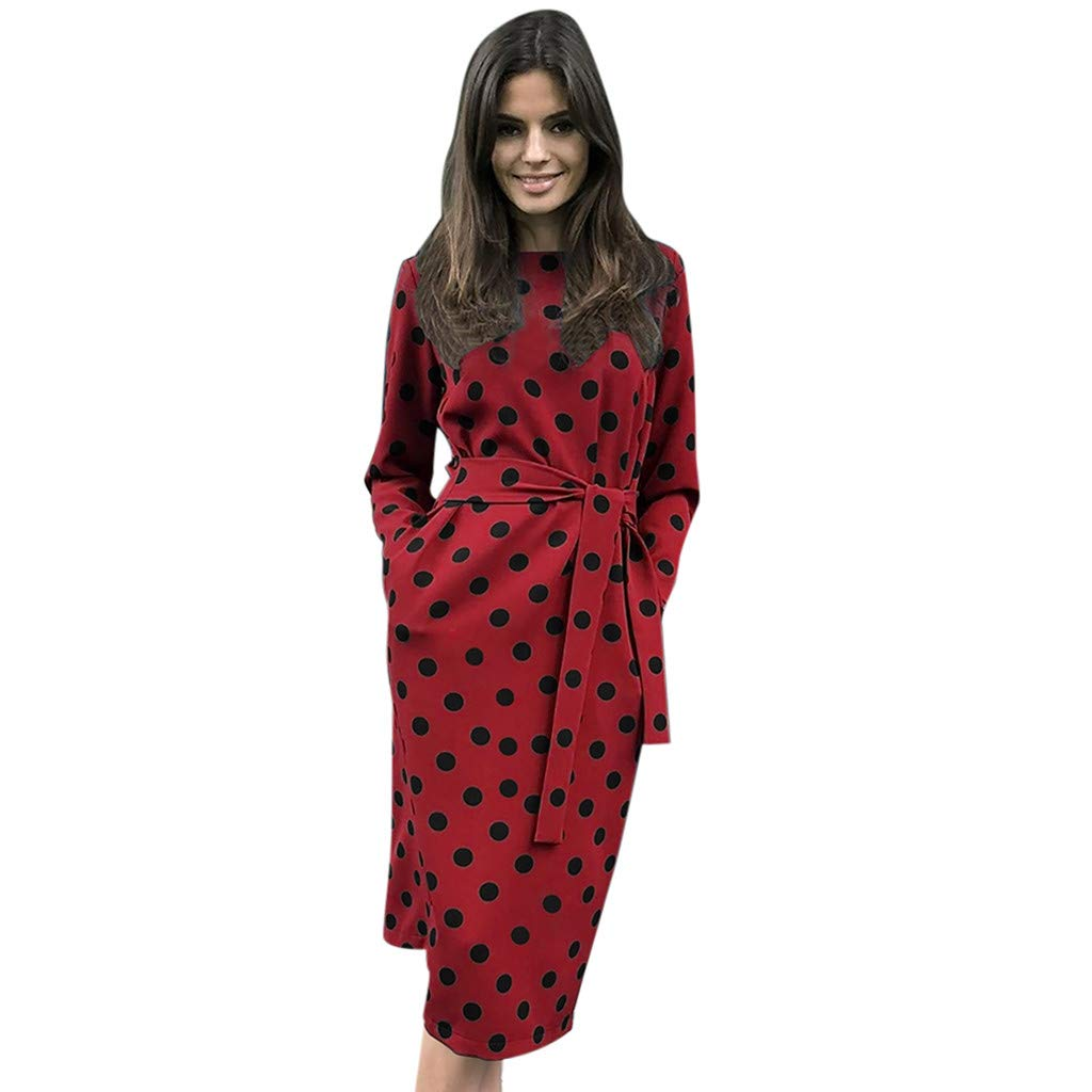 PASATO Women O-Neck Casual Dots Pockets Party Dress With Belt Long Sleeve Wrap Dress(Red,XXL=US:XL)