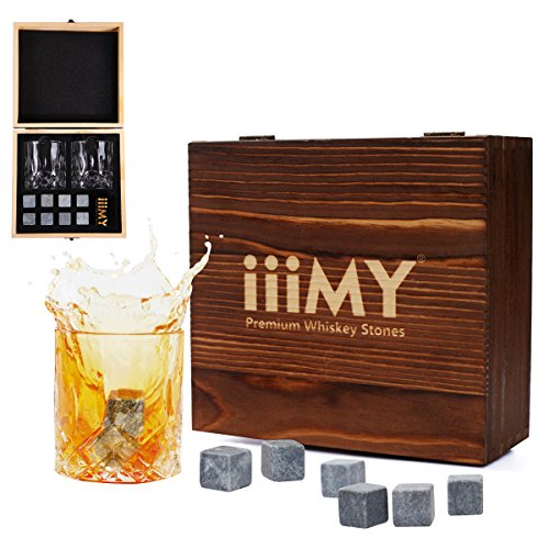 Whiskey Stones and Glasses Gift Set, Whiskey Rocks Chilling Stones in Premium Handmade Wooden Box– Cool Drinks without Dilution – Whiskey Glasses Set of 2, Gift for Dad, Husband, Men – iiiMY