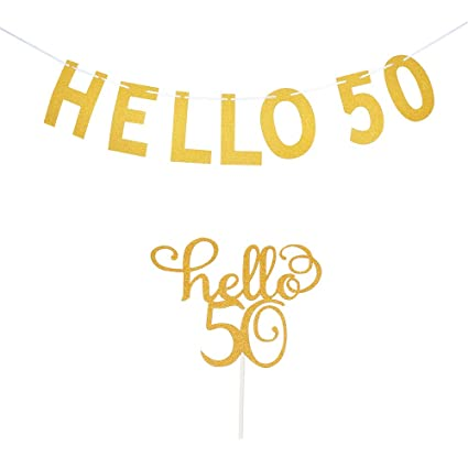 Amazon.com: Hello 50 - Decoración para tartas, 50 cumpleaños ...