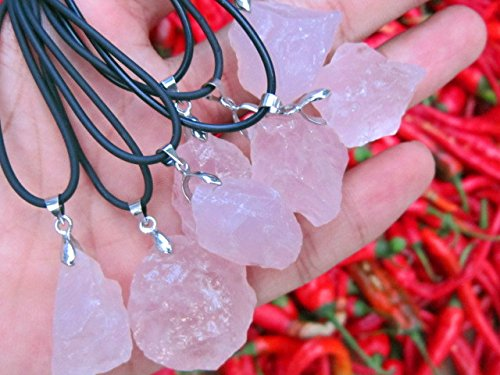 usongs Colorful jewelry counter natural rose quartz stone powder crystal necklace pendant chunk stone men and women girls models sweater chain ()