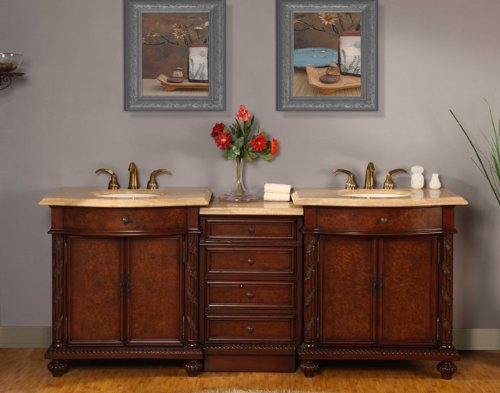 84'' Bathroom Furniture LED Lighted Travertine Top Double Sink Vanity Cabinet 193TL by Silkroad Exclusive