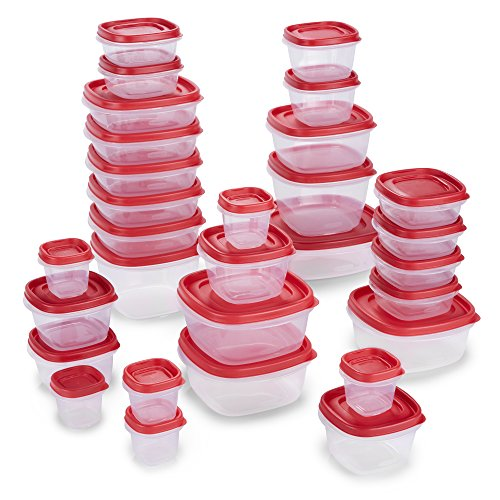 Rubbermaid 2065351 Easy Find Lids Food Storage Containers, 60 Piece, New Assortment, Racer Red by Rubbermaid