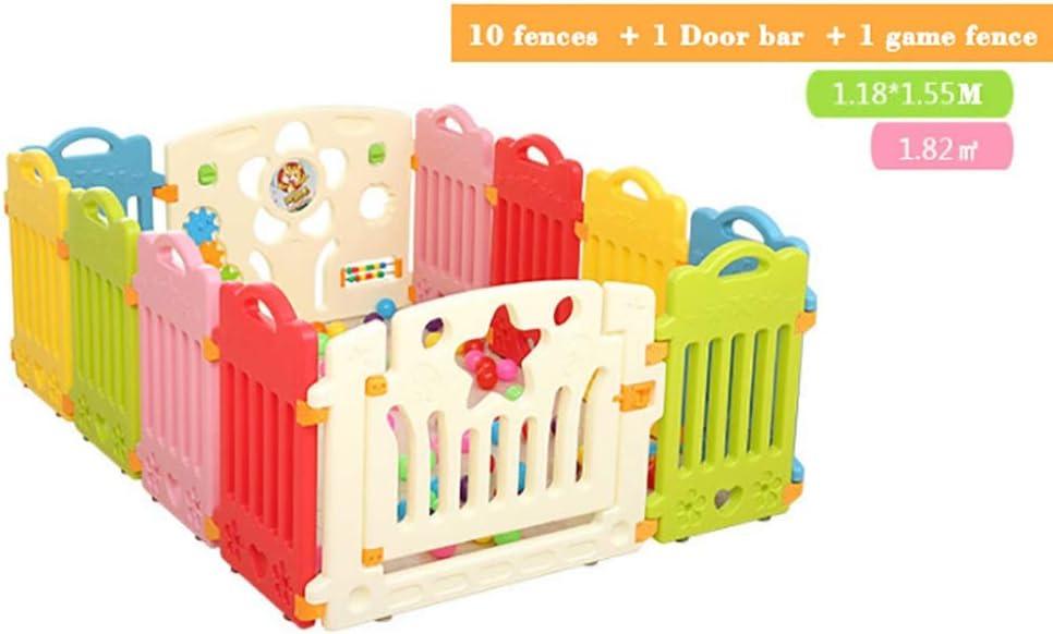 ベッドガード・フェンス ベビーゲート 城幼児&ベビーベビーサークル - 8-16カラフルなパネル - 活動パネル付き、0-3歳の子供に適した安全扉のデザイン 子供用フェンス 子ども保護柵 (Color : B)