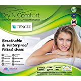 TENCEL® Organic Waterproof Mattress Protector Pad Cover - Fitted Sheet - Dry N Comfort - European Premium Quality Super Soft Hypoallergenic Waterproof White - Vinyl Free - 5 Years Warranty - Money Back Guarantee! (QUEEN)
