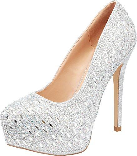 Cambridge Select Women's Glitter Crystal Rhinestone Slip-On Chunky Platform High Heel Pump,7.5 B(M) US,Silver