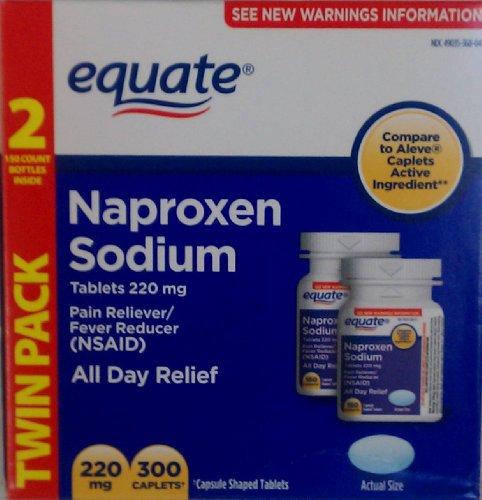 Equate naproxène sodique 220 mg, 300 caplets douleur de secours antipyrétique Comparer Aleve