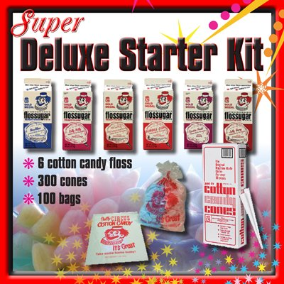 Super Deluxe Cotton Candy Floss Machine Starter Kit (Candy Machine Apple)