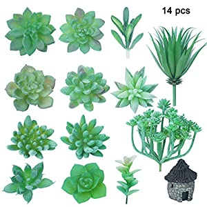 14PCS Green Artificial Succulent Bouquet Unpotted Faux Frost Greenery Picks Mini Plastic Cactus Fake Desert Plants Flower for Home Garden Wedding Decoration with Small Stone House Bonsai Ornament 14