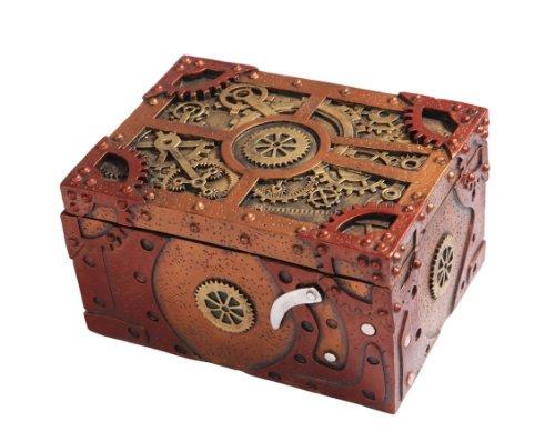 [7.75 Inch Steampunk Themed Clockwork Jewelry/Trinket Box Figurine] (Steampunk Decorations)