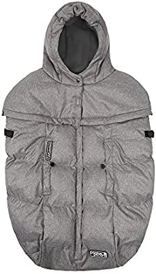 Stroller and Car Seat Cover 7AM Enfant Pookie Poncho Heather Grey, One Size 0-3T 3-in-1 Baby Carrier Wind and Water Resistant Best for Freezing Winter Conditions