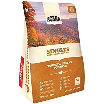 ACANA Turkey & Greens Dry Dog Food 4.5 Lb. Bag. Fresh Free-Run Turkey & Kentucky Greens Grain Free Dog Food