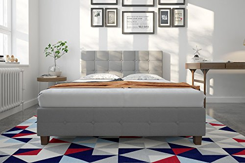 DHP Rose Upholstered Bed, Full, Gray