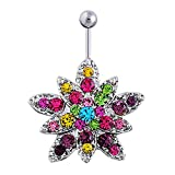 Molyveva Stainless Steel Dangle Belly Button Rings Colorful Flower for Women Girls CZ Navel Rings Body Piercing Jewelry