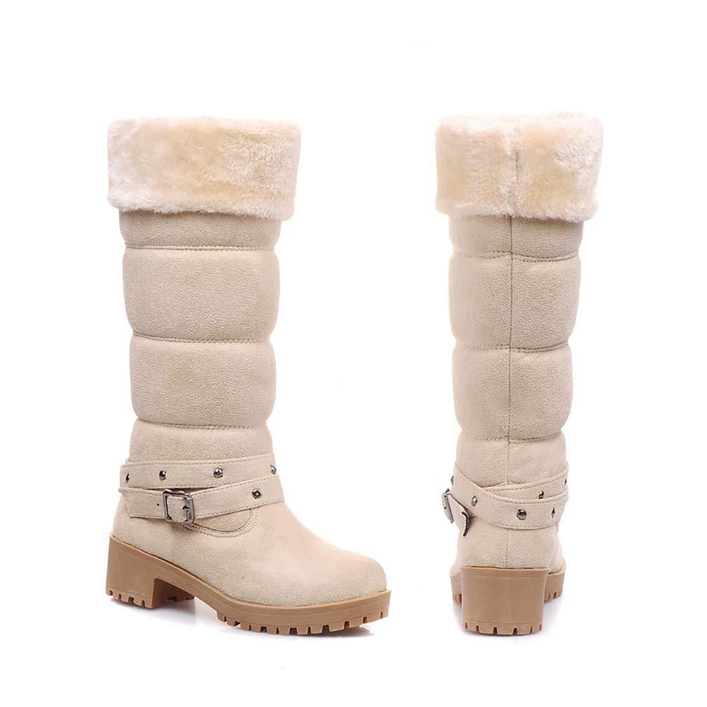 Hy Damenschuhe Suede Cotton Herbst/Winter Comfort Cotton Suede Stiefel Schneestiefel Stiefel/Damen Winter New Square Heel Mittelrohr Booties/Stiefeletten Student Warm Skiing Schuhe (Farbe : EIN, Größe : 37) - b29f91