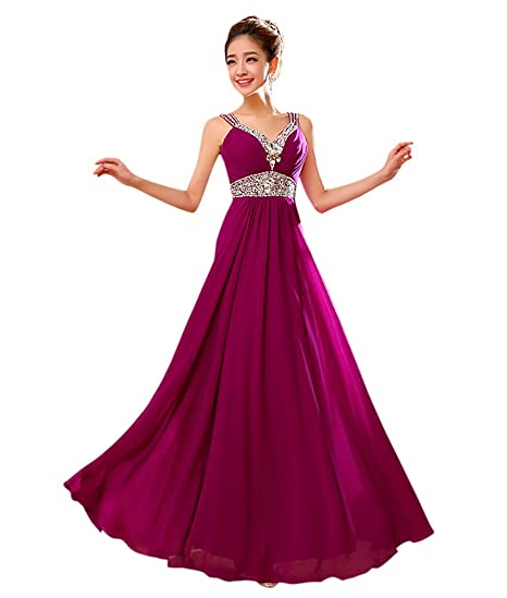 Drasawee Womens Long Rhinestones Evening Formal Dresses Sexy Empire Prom Party Wedding Gowns Purple UK4
